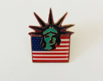 Vintage Olympic Pin Liberty Island Lapel Pin 1983 Statue of Liberty Olympic Button