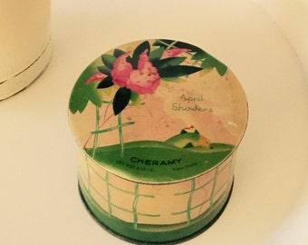 Vintage Tin April Showers Powder Tin Cheramy New York Treasure Box Trinket Box