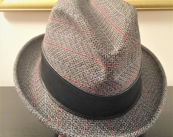 c8300f45f8865 Men s Fedora Adam Hat 1950 s Size 7 1 4 Gray Wool Plaid with Black Leather  Band
