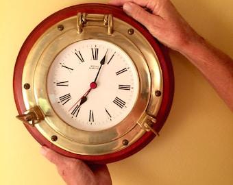 Nautical Solid Brass Port Hole Clock Brass & Wood Boating Beach House Decor Shabby Chic
