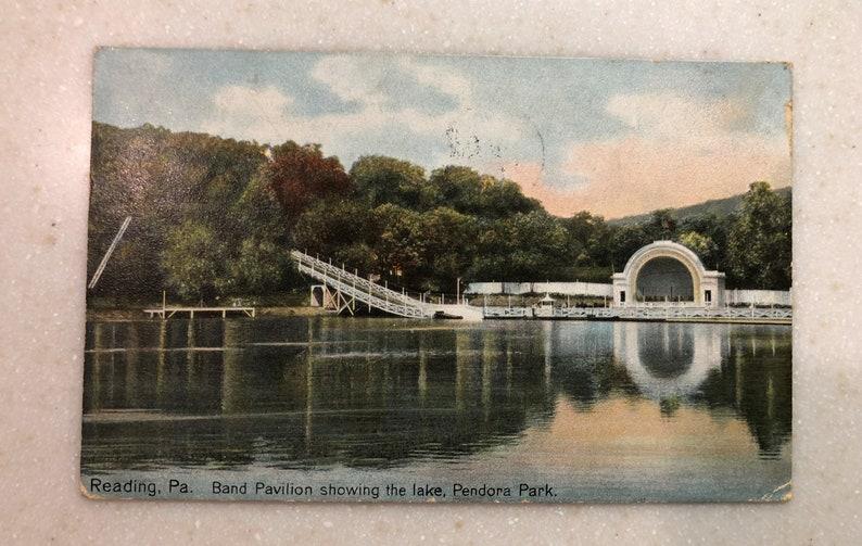 Vintage Postcard Reading Pa Pendora Park Band Pavilion Lake and Chute Berks  County 1909