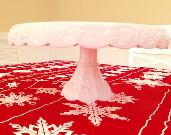 Vintage Wedding Pedestal Cake Stand White Milk Glass Cake Plate with Scalloped Edges Wedding Cake Stand Wedding Home Decor