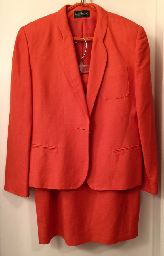 Vintage Designer Burnt Orange Suit Harve Benard Li
