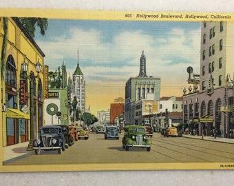 Vintage CA Postcard Hollywood Boulevard Hollywood California 1940's