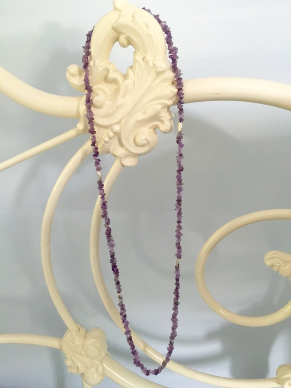 Angelcore Lilac Purple Bead Necklace Choker White Peral Crystal Lavender