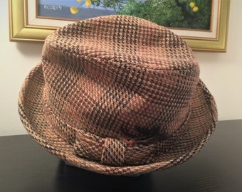 Men's Fedora A-L  Hat 1950's Size 7 1/4 Camel & Brown Wool Plaid Mad Men Look