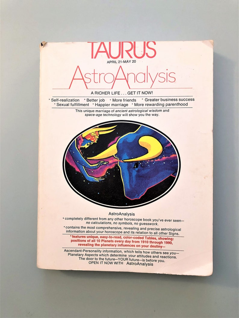 Vintage Astrology Book Taurus Horoscope Astro Analysis April 21 to May 20  Zodiak Sign