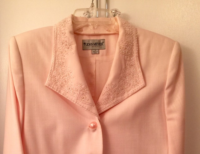 Vintage Ladies Designer Suit John Meyer Ladies Size 12 Pink Cocktail Suit Wedding Suit Detachable Jeweled Collar