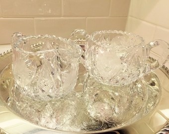 Vintage Etched Cream & Sugar Set Midcentury Cream and Sugar Bowl Etched Pressed Glass Beautiful