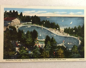 Vintage Postcard Grand Hotel Mackinac Island 1945