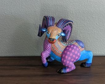 Ram Alebrije Figurine, Handmade Home Decor, Folk Art from Oaxaca Mexico, Original Wood Sculpture, Carved Animals, Unique Ram Statue Gift
