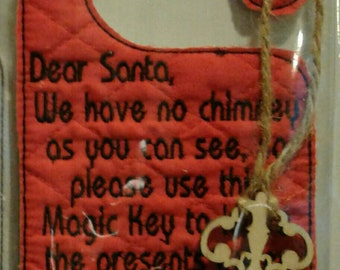 Santa Magic Key Door Hanger In the Hoop Embroidery Design