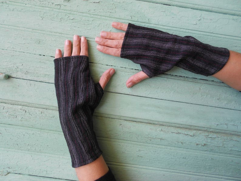 felted wool mittens with stripes