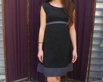 City smooth cotton or wool to choose black polka dot dress