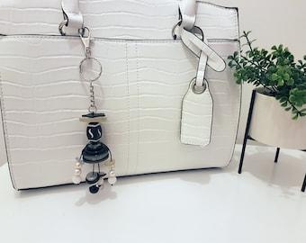 Doris - Button and Beads Trendy Bag Charm