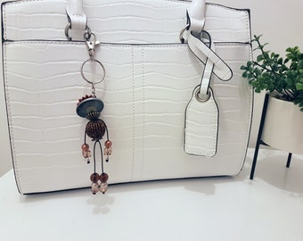Eleanor - Button and Beads Trendy Bag Charm
