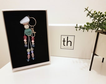 Hannah - Button and Beads Trendy Bag Charm
