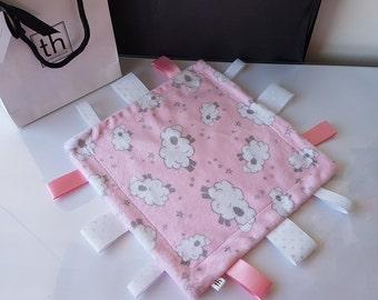 Baa Blush - Plush Trendy Taggie Blanket