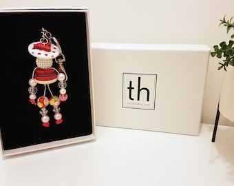 Henrietta - Button and Beads Trendy Bag Charm