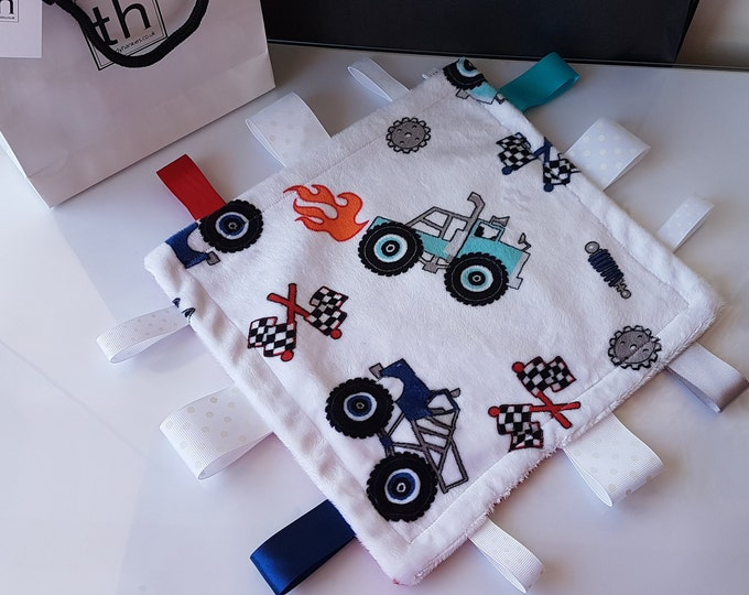 Featured listing image: Truck Rally - Plush Trendy Taggie Blanket