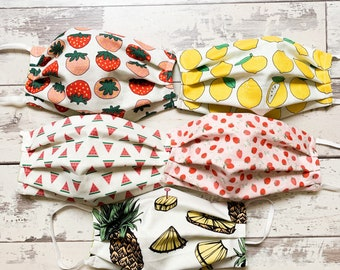 Handmade  Reusable Fruit Print Face Mask  Adult Size, Mask that can be used with filters