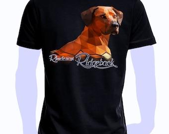 T-shirt printed with dog Rhodesian Ridgeback Polygon