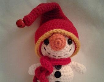 LOONY the SNOWMAN = Crochet Amigurumi - Crochet Snowman - Handmade Crochet Amigurumi
