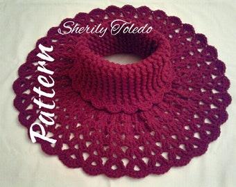 PATTERN - Split Shell Neck Warmer - Crochet Turtleneck warmer