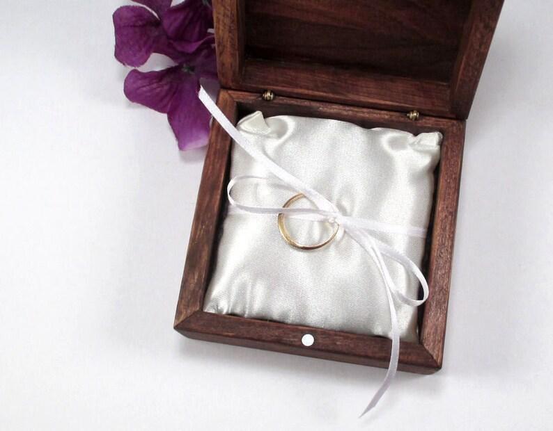 Distressed Wood Box Wedding Ring Pillow Rustic Ring Box Wood Ring Bearer Box Rustic Wood Small White Satin Ring Pillow Rustic Gift Box