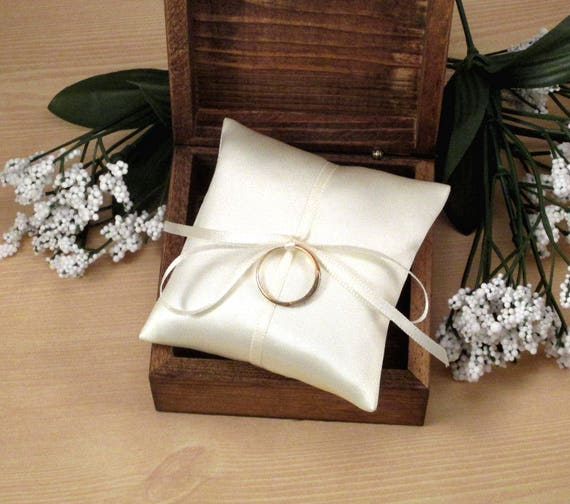 "5x5"" PERSONALISED WHITE OR IVORY BRIDAL SATIN WEDDING RING CUSHION PILLOW"