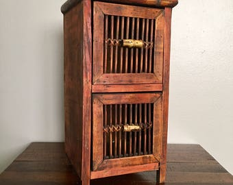 Vintage Small Asian Cabinet With Bamboo Knobs / Table Top / Asian /  Inspired /Storage And Decor / Solutions / Baskets / Storage Solutions