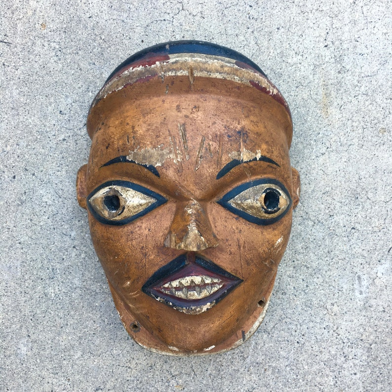 Antique Tribal Wood Mask Wall Decor Vintage Tribal Masks Wooden Masks Distressed Wood Antique Mask African Inspired
