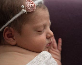 Eloise--SALE--Pink Floral Headband-- Newborn Tieback-- Newborn Photography Prop