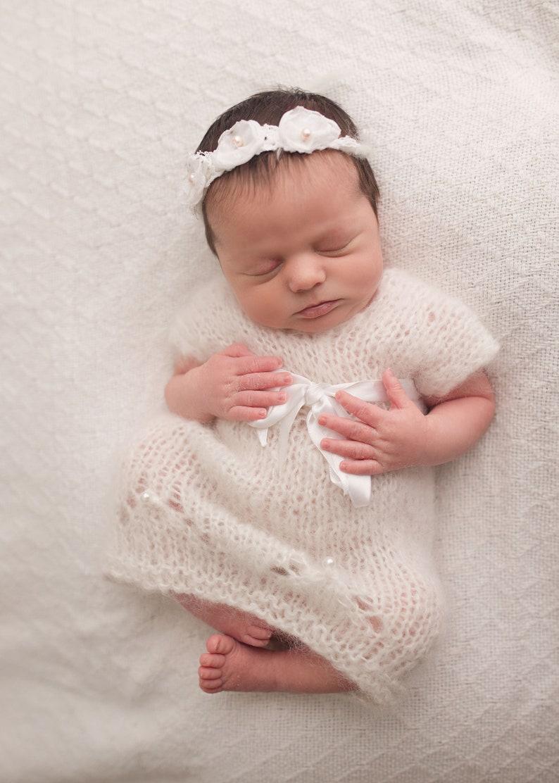 Baby Girl Accessories- Paige- Newborn Photography Prop Newborn Tieback- Newborn Headband-