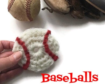 Baseball Scrubbies,Softball Pot Scrubbers,You Choose 2 - 8 Nylon Baseball Dish Scrubbies, Father's Day, World Series,Double Layered, For Him