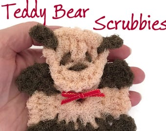 Teddy Bear Pot Scrubbers- Bear Dish Scrubbers,Stocking Stuffer,Bear Gift,Multi-dimensional Teddy Bear,Kitchen Decor, Teddy Bear Gift for Her