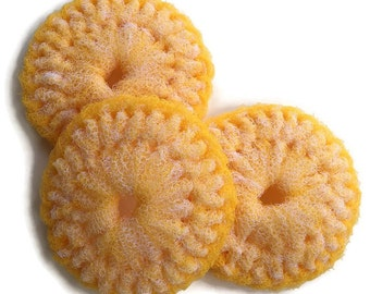 "Nylon  Pot Scrubber, Lemony Yellow Dish Scrubber Crocheted Scrubbies, 3 Double Layered, 4 1/2 to 5"" Diameter, Gift For Her"