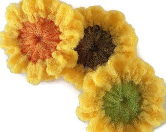 Sunflower Dish Scrubbies, You Choose the Color and the Quantity, Sunflower Scrubbies, Kitchen Scrubbies, Pot Scrubber, Dish Scrubber - Gift