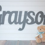 """Gray Wooden name sign, 11 - 12 """" capital letter, Baby Name Plaque, nursery name, nursery decor, above a crib, custom name sign"""
