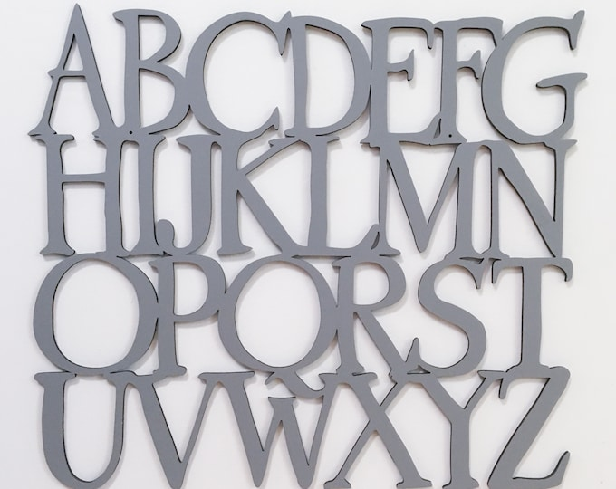 Wood Alphabet sign,  Uppercase letters, wooden Alphabet letters, Alphabet nursery decor, ABCs, modern baby nursery, kids room, playroom