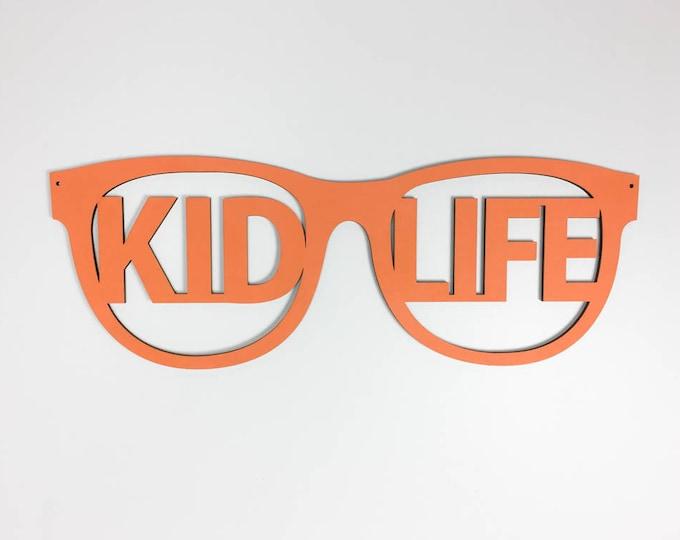 Kid Life wood sign, Sunglasses wall art, modern baby nursery, kids bedroom, playroom decor, boys room, brothers shared room, nursery wall