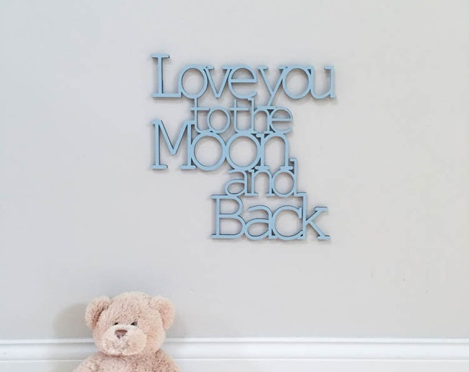 Love you to the Moon and Back wood sign   baby nursery decor   modern kids room   moon and stars wall decor   baby shower decoration