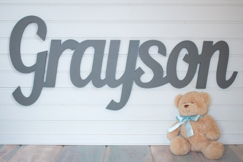 Gray Wooden name sign 11  12  capital letter Baby image 0