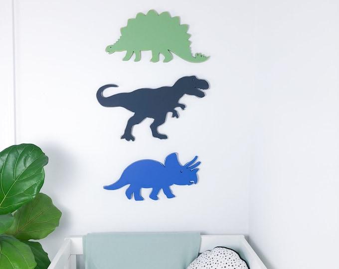 Dinosaur wood sign, t-rex, stegosaurus, triceratops, pterodactyl, dinosaur art, dinosaur nursery, dinosaur birthday, baby shower, wood shape
