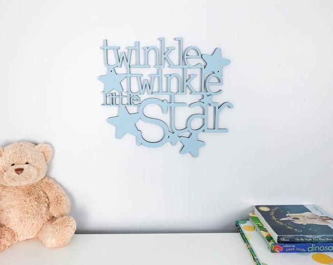 Twinkle Twinkle Little Star wood sign   personalized baby nursery   kids bedroom   wooden stars   words wall art work   twinkle wall decor