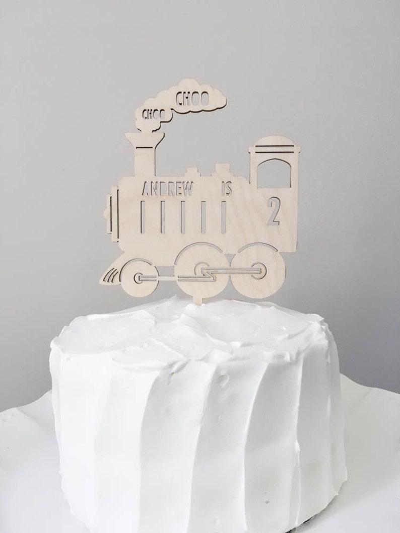 Choo Im Two Train Cake Topper Wooden