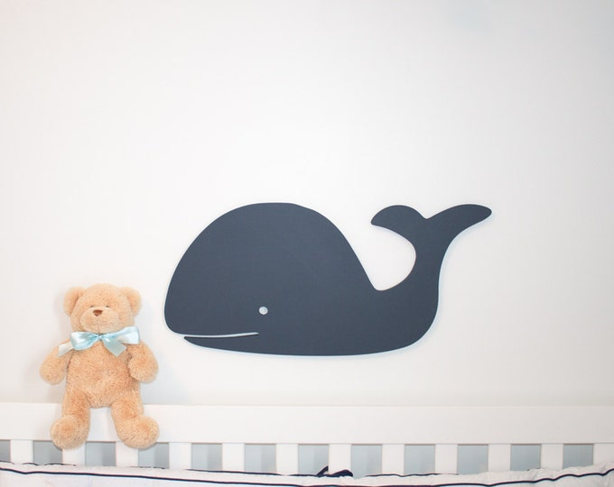 24 inch long blue whale wooden whale sign nautical whale nursery decor  beach cottage beach house above crib wooden name sign