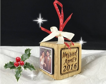 Personalized 1st Christmas Ornament, Couple's First Christmas Wooden Block Ornament, Wedding Ornament, Mr and Mrs Ornament, Wedding gift