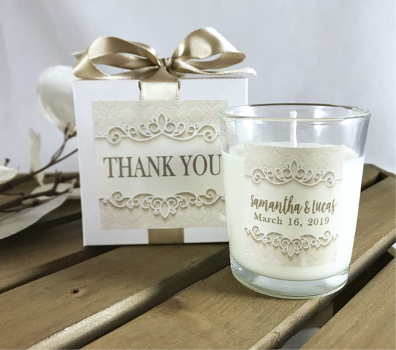 Set of 10 GIFT BOXED Wedding Favor, Personalized Wedding, Thank You Favors,  Wedding Candle Favor, Wedding Guest Gift, Anniversary Favor