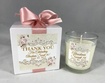 50 OR MORE (Each) Gift Boxed Sweet 16 Candle Favors, Sixteen, Quinceanera Favor Gifts, Birthday, Favor for Guests, Wedding favors